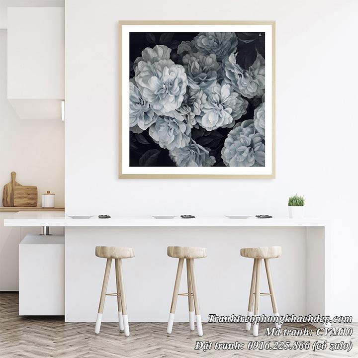 Hình ảnh tranh đen trắng treo tường in vải canvas hoa mẫu đơn
