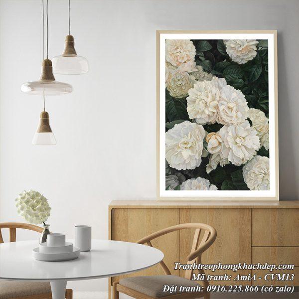 Hình ảnh tranh canvas treo phòng khách đẹp ý nghĩa hoa mẫu đơn trắng