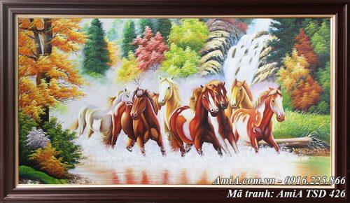 Hinh anh tranh ngựa 8 con phi nước đại trên sông nước mã TSD 426