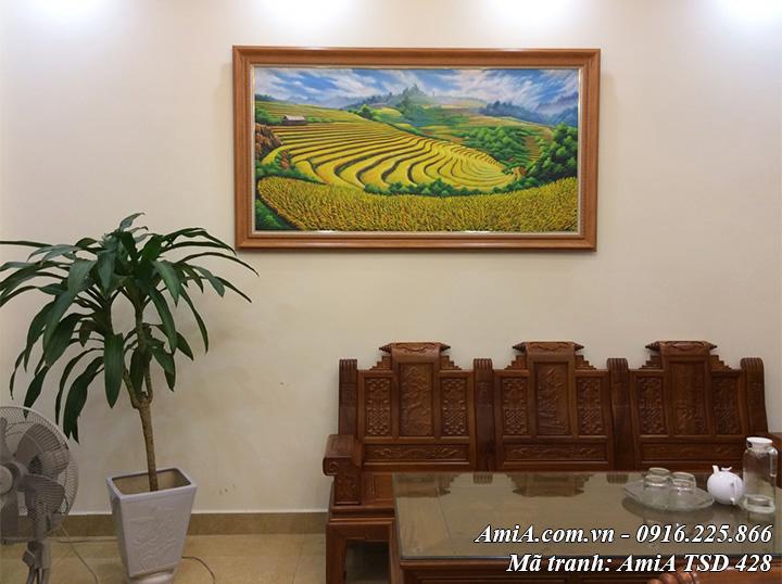 Hình ảnh tranh treo thực tế bức sơn dầu ruộng bậc thang mù cang chải Amia 428