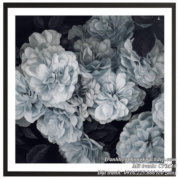 Hình ảnh tranh AmiA CVM10 hoa mẫu đơn đen trắng mang phong cách Scandinavian