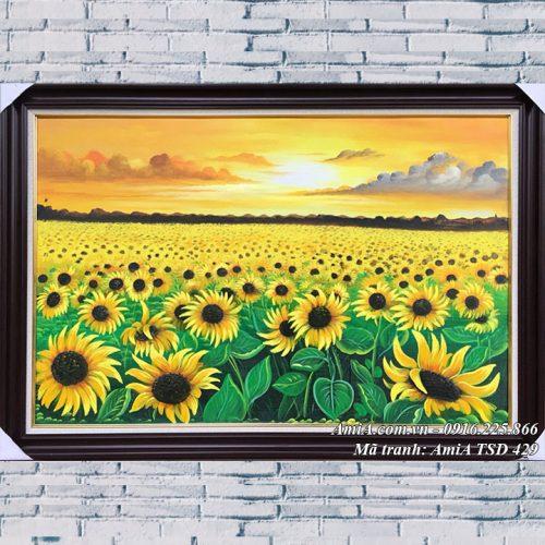 Hình ảnh tranh đồng hoa hướng dương mang năng lượng tích cực AmiA TSD 429