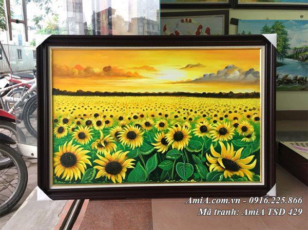 Tranh chụp tại cửa hàng AmiA bức sơn dầu cánh đồng hoa hướng dương