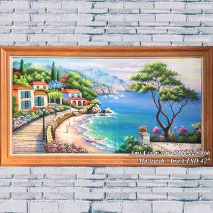 Hình ảnh tranh phong cảnh đẹp vẽ sơn dầu biển xanh