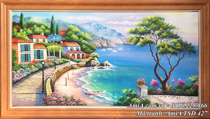Hình ảnh tranh thomas sơn dầu nổi tiếng phong cảnh biển mã TSD 427