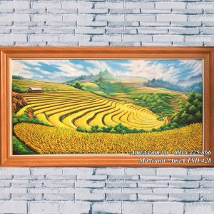 Tranh sơn dầu AmiA mã 428 phong cảnh ruộng bậc thang mùa lúa chín