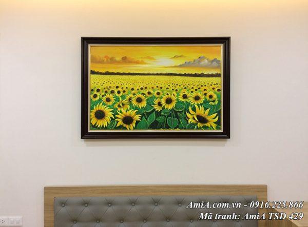 Hình ảnh mẫu tranh hoa hương dương cả cánh đồng mênh mông