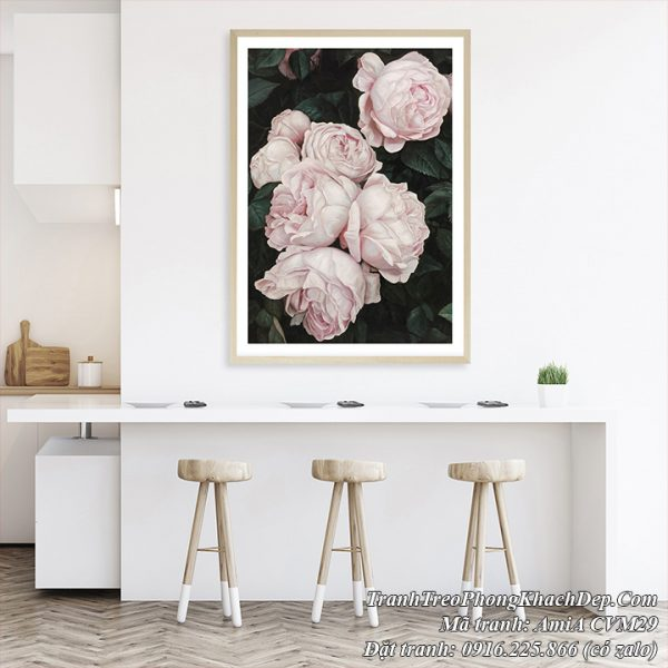 Tranh AmiA CVM29 hoa hồng Pháp trang trí phòng khách phòng ăn nhà bếp