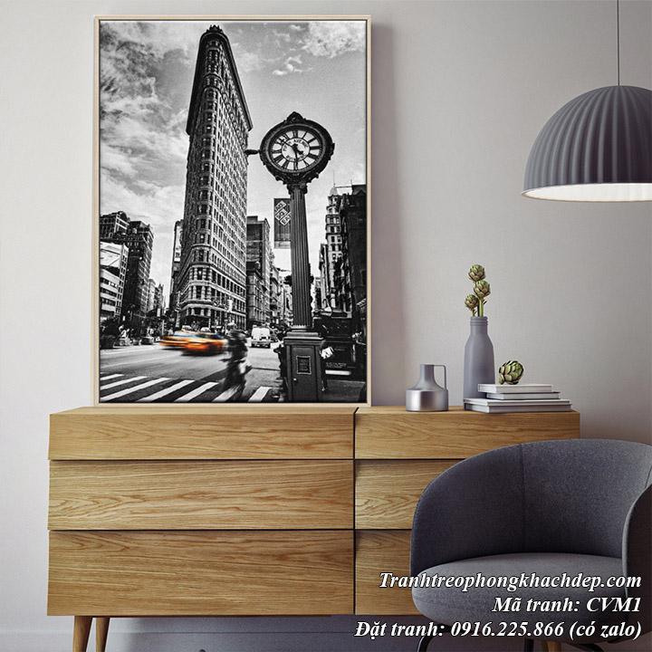 Tranh canvas nghệ thuật treo ở phòng khách đẹp cảnh thành phố NewYork đen trắng