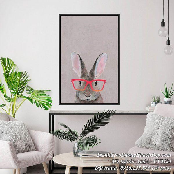 Hình ảnh tranh thỏ kính hồng trang trí phòng khách AmiA CVm24