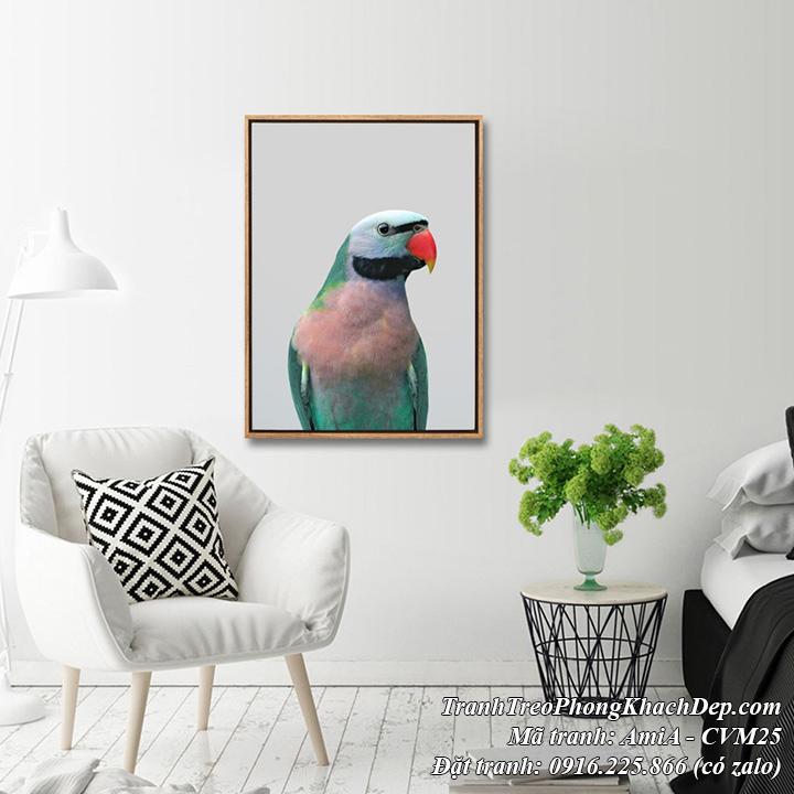 Tranh canvas vẹt xanh AmiA CVM25 treo trang trí phòng khách