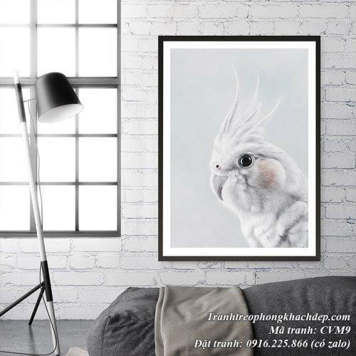 Hình ảnh tranh scandinavian trang trí phòng khách với chú chim vẹt màu trắng