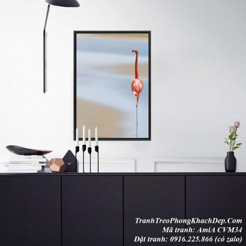 Tranh canvas AmiA CVM34 treo phòng khách chim hồng hạc