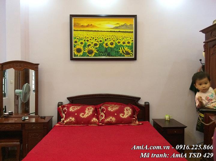 Tranh hoa hướng dương vẽ sơn dầu treo thực tế nhà khách mã TSD 429