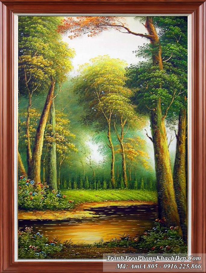 Tranh rừng cây khổ dọc Amia 805