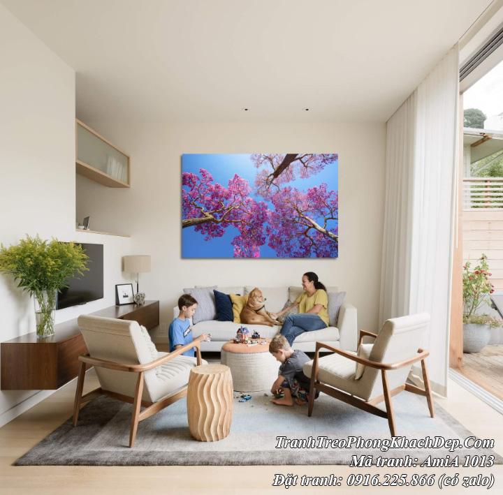 Amia 1013 tranh treo phòng khách hoa anh đào Nhật Bản