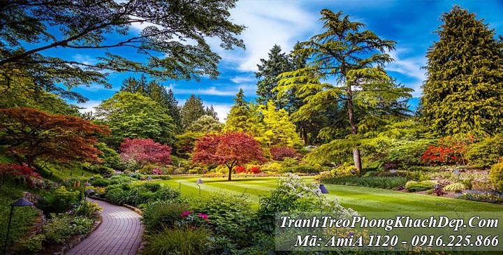 Tranh công viên Amia 1120 nhiều cây xanh
