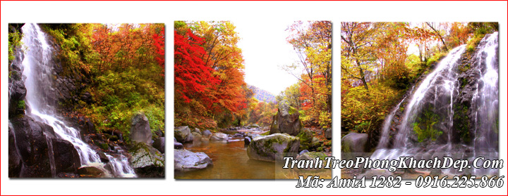 Tranh rừng cây thác nước AmiA 1282 hiện đại