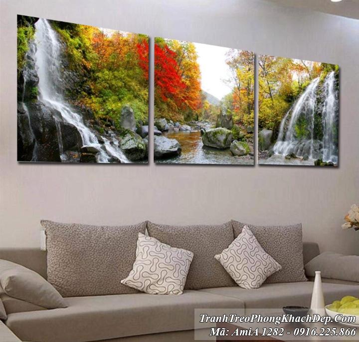 Tranh rừng cây thác nước treo phòng khách AmiA 1282