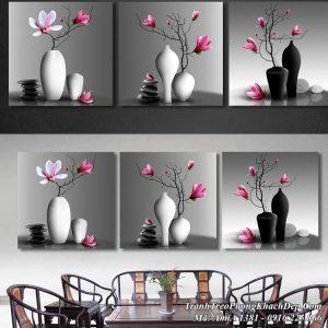 Tranh bình hoa treo tường phòng khách đẹp AmiA 1381 HOT nhất 2019