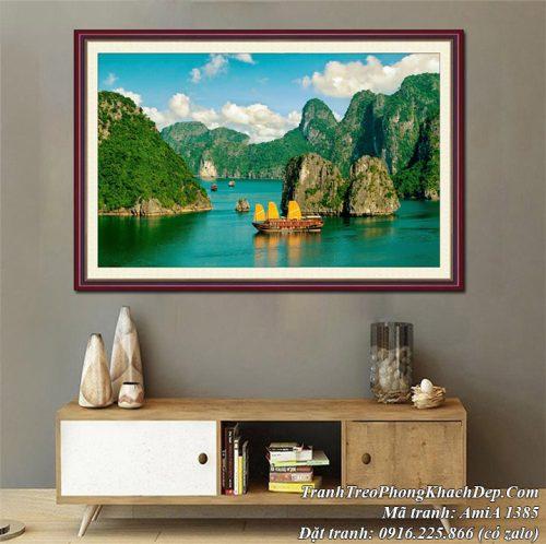 Hình ảnh tranh AmiA 1385 sông núi vịnh hạ long khổ lớn