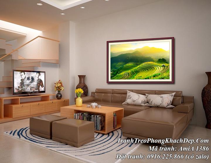 Tranh treo phòng khách hiện đại AmiA 1386 ruộng bậc thang Mù Căng Chải