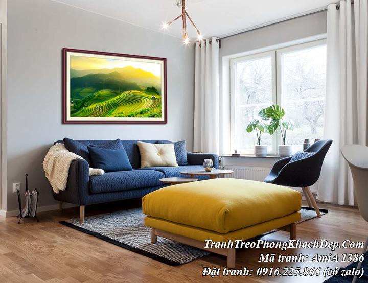 Tranh ruộng bậc thang mù căng chải treo ở phòng khách đẹp AmiA 1386