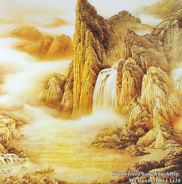 Tranh sông núi dát vàng AmiA 1410 có con thuyền nhỏ trên sông