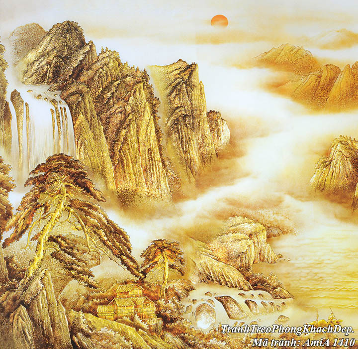 Tranh AmiA 1410 sông núi dát vàng có mặt trời mọc