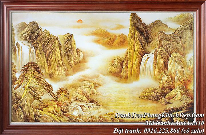 Tranh sông vàng núi vàng treo phòng khách ý nghĩa Amia 1410