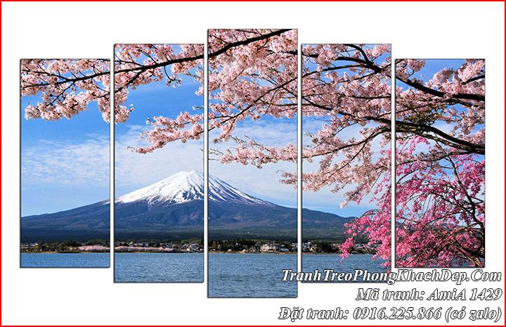 Tranh núi Nhật Bản Phú Sỹ và hoa anh đào Amia 1429