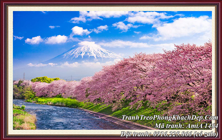 Tranh phong cảnh đẹp Núi Phú Sỹ hoa anh đào một tấm AmiA 1464