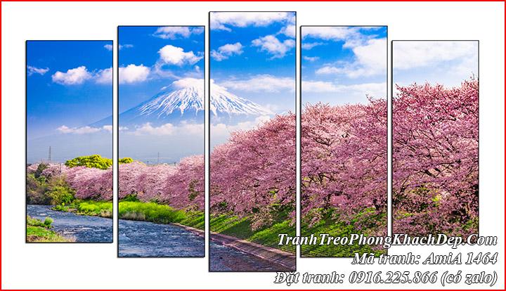 Tranh hoa anh đào nổi tiếng ở Kawazu nhìn lên núi phú sỹ