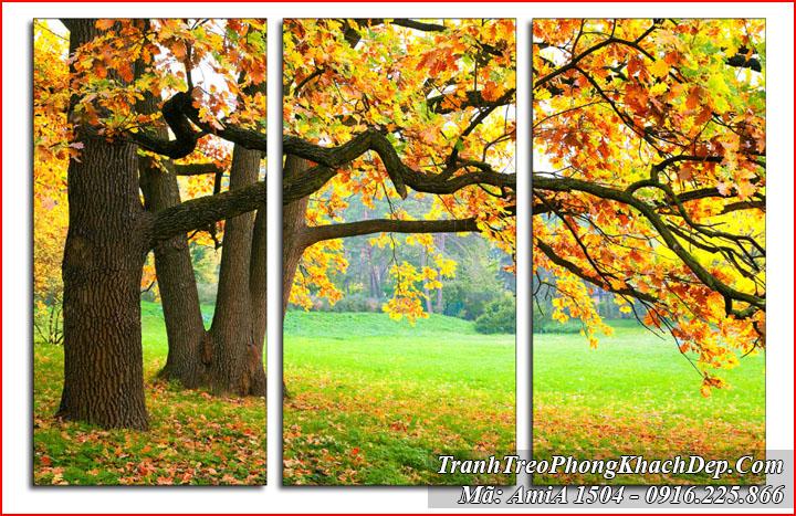 Tranh Amia 1504 cây lá vàng ghép 3 tấm