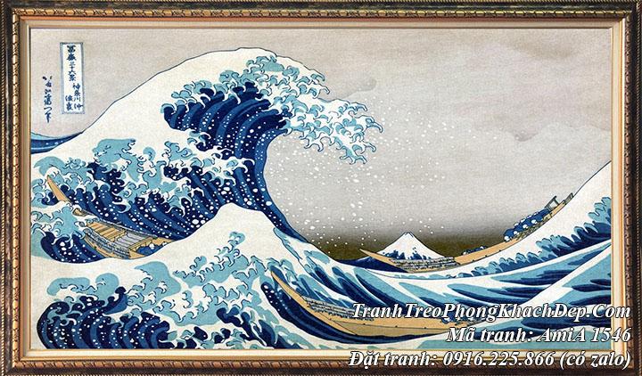 Hình ảnh tranh con sóng và núi phú sỹ bức tranh cổ nhật bản AmiA 1546
