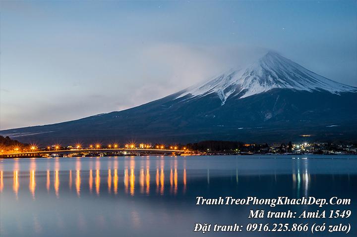 Tranh núi phú sỹ và cây cầu Kawaguchi lên đèn Amia 1549