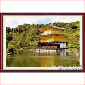 Tranh Chùa Vàng Nhật Bản treo phòng khách đẹp amia 1550