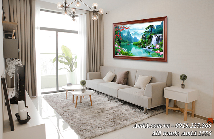 Tranh phong cảnh sông nước hữu tình Amia 1555 treo phòng khách