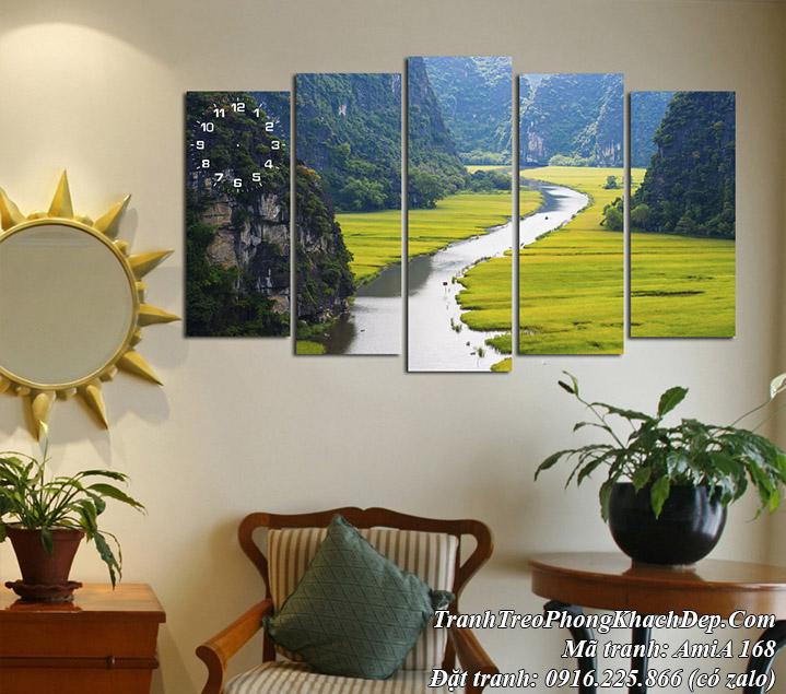 Tranh treo phòng khách đẹp AmiA 168 tranh sông núi