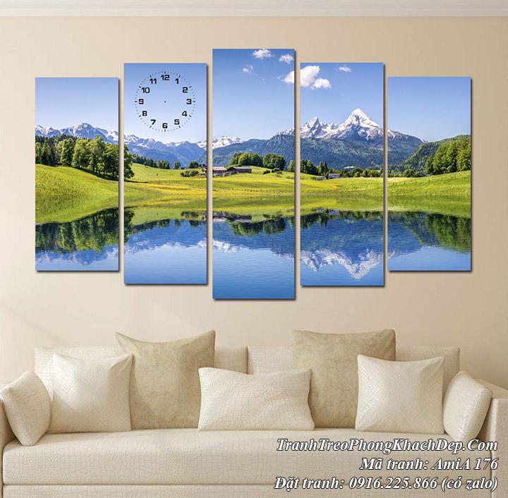 Tranh treo phòng khách phong cảnh sông núi Amia 176 được yêu thích
