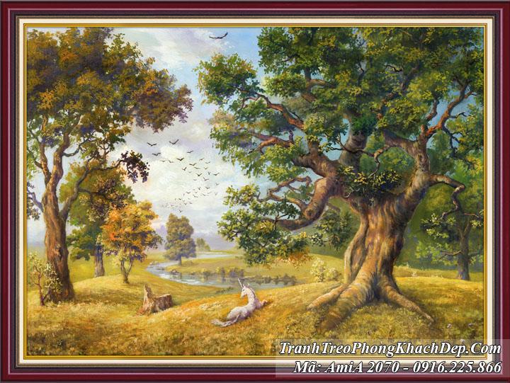 Tranh một tấm khổ nhỏ rừng cây phong cảnh Amia 2070