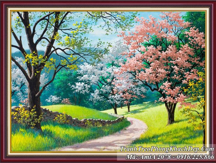 Tranh Amia 2078 rừng cây công viên xanh