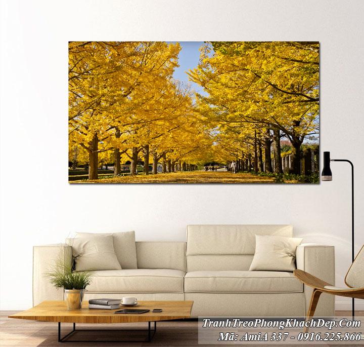 Tranh Amia 337 phong cảnh hàng cây lá vàng hàn quốc