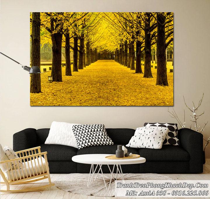 Tranh Amia 338 hàng cây lá vàng treo phòng khách
