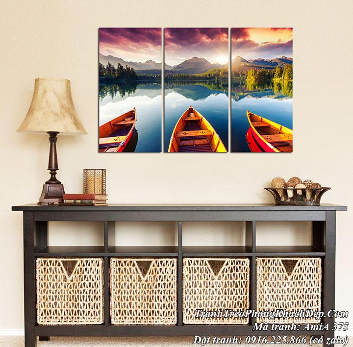 Tranh phong cảnh sông núi ghép phòng khách hiện đại AmiA 375