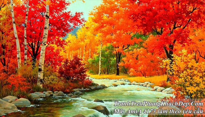 Tranh rưncg cây mùa thu giả sơn dầu Amia 4173