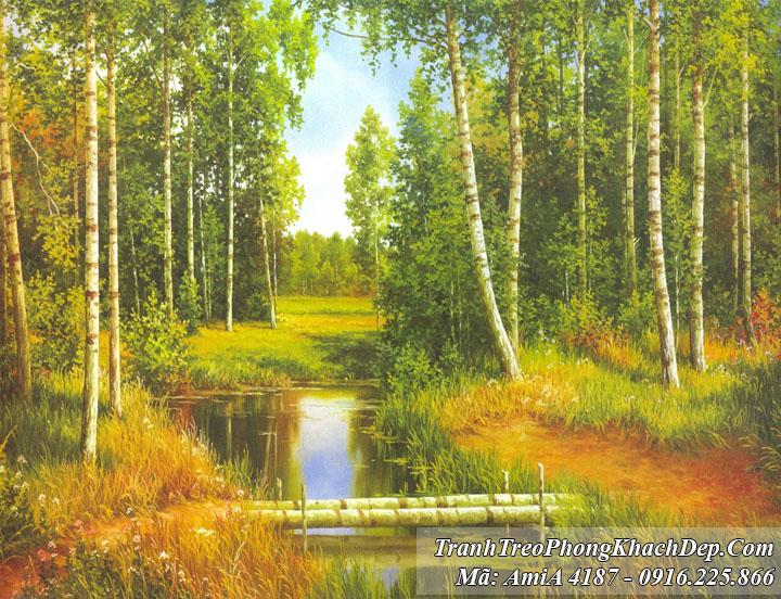 Tranh rừng cây kênh xanh amiA 4187