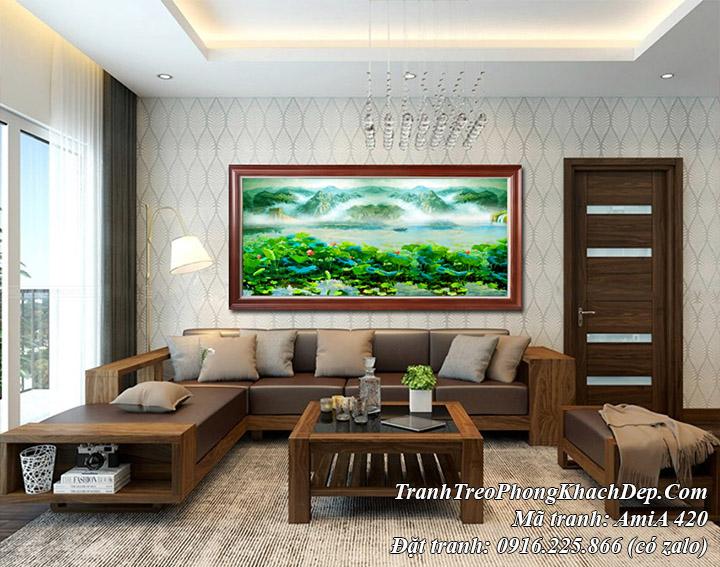 Tranh phong cảnh hồ sen ở Trung Quốc sông núi hữu tình treo phòng khách AmiA 420