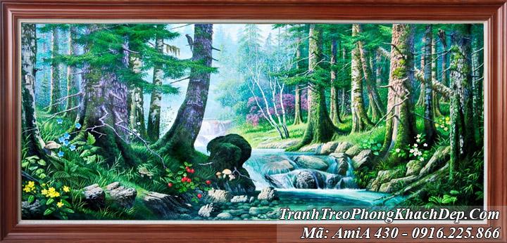 Tranh rừng cây thuộc hành Mộc có màu xanh rêu AmiA 430
