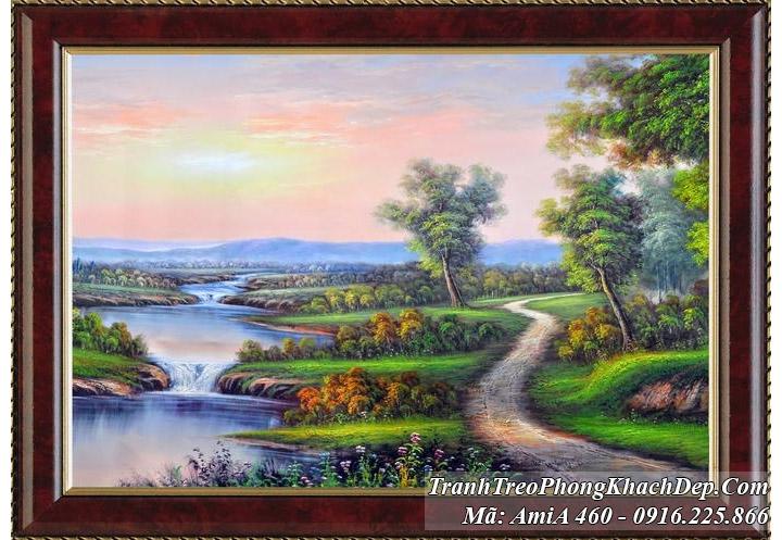 tranh rừng cây dòng suối ven rừng amia 460